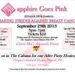 Giveaway Alert!  Win 2 tickets to the Sapphire Goes Pink!