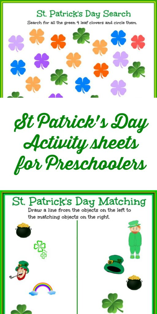 These easy St Patrick's Day Activity Sheets are perfect for preschooler!