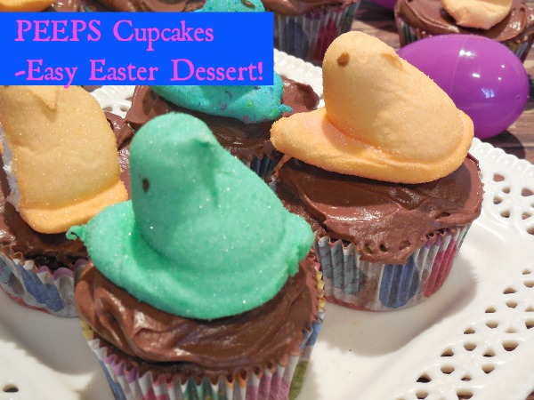 Looking for a quick and easy, yet festive Easter Dessert? Try these chocolate cupcakes with buttercream icing and a PEEP on top!