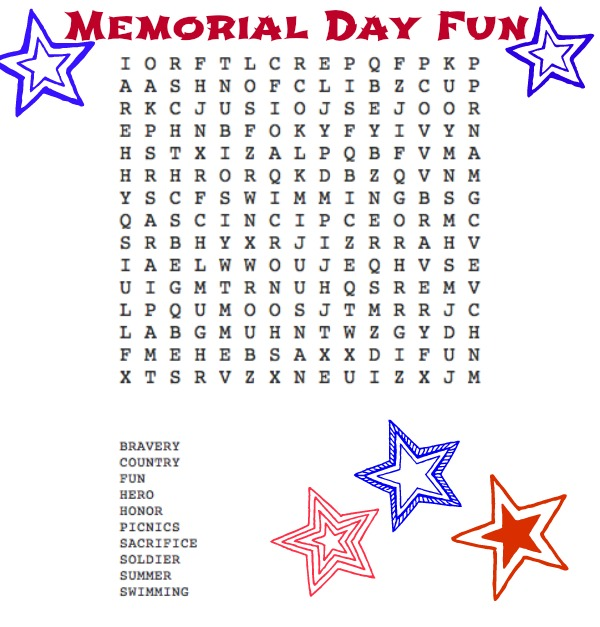 Memorial Day Fun Word Search--Some fun for your kids this Memorial Day!