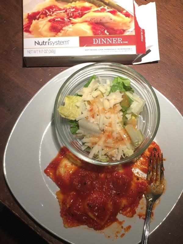 Nutrisystem Ravioli Dinner with salad