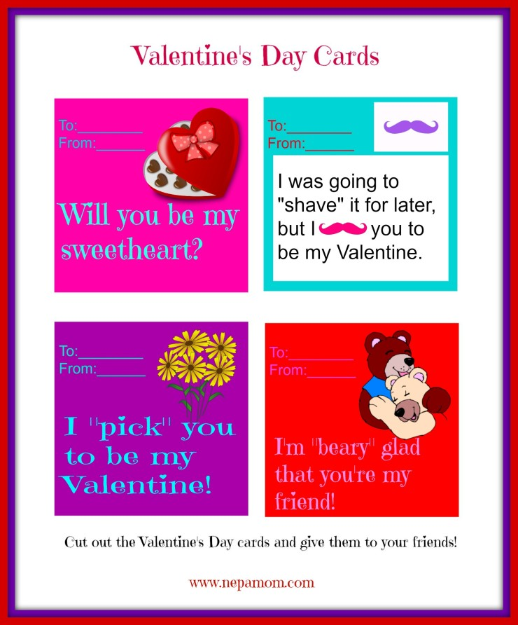 printable valentine's day cards  good food and family fun