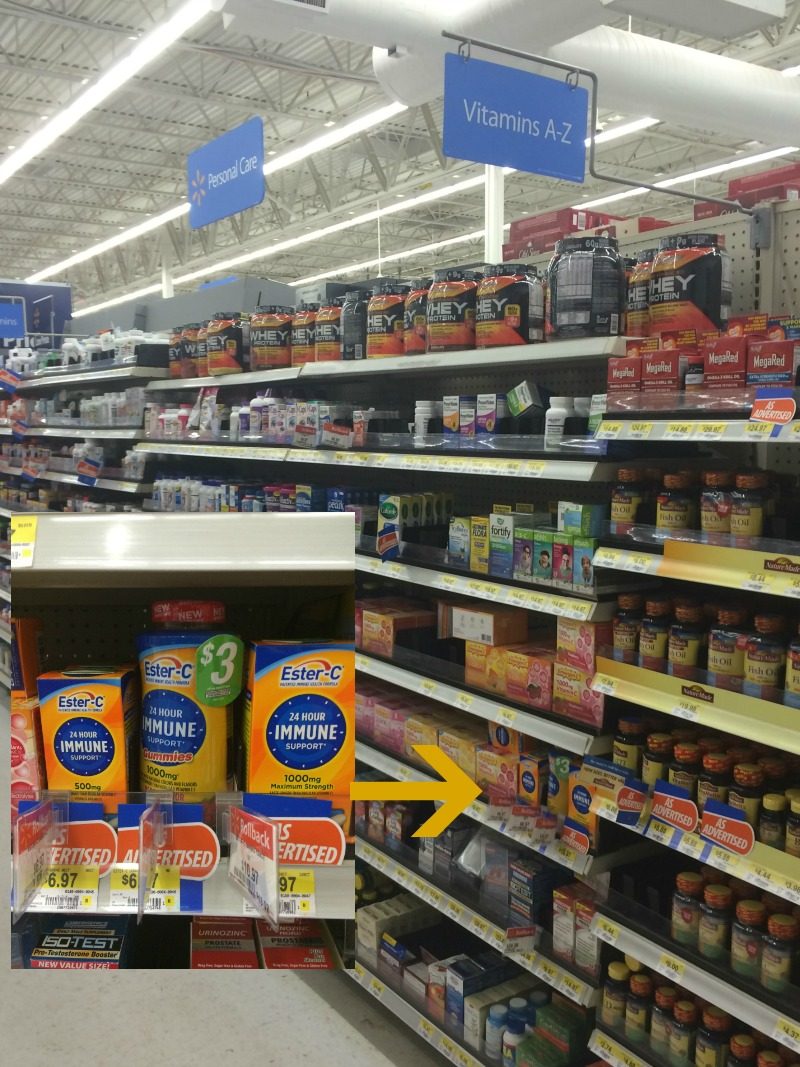 Walmart Aisle with close up of Ester-C  #24HourEsterC #ad