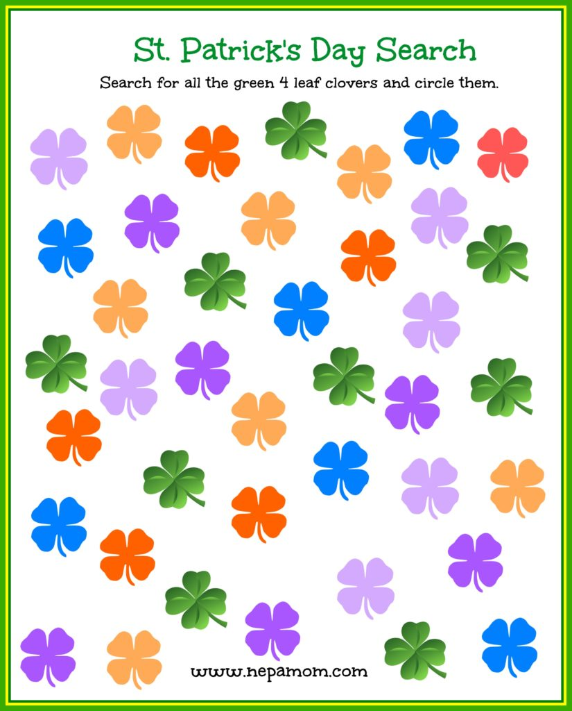 Print out this fun St Patrick's Day Search for your preschooler! So much fun!