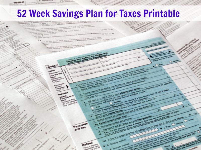 52 Week Savings Plan For Taxes Printable