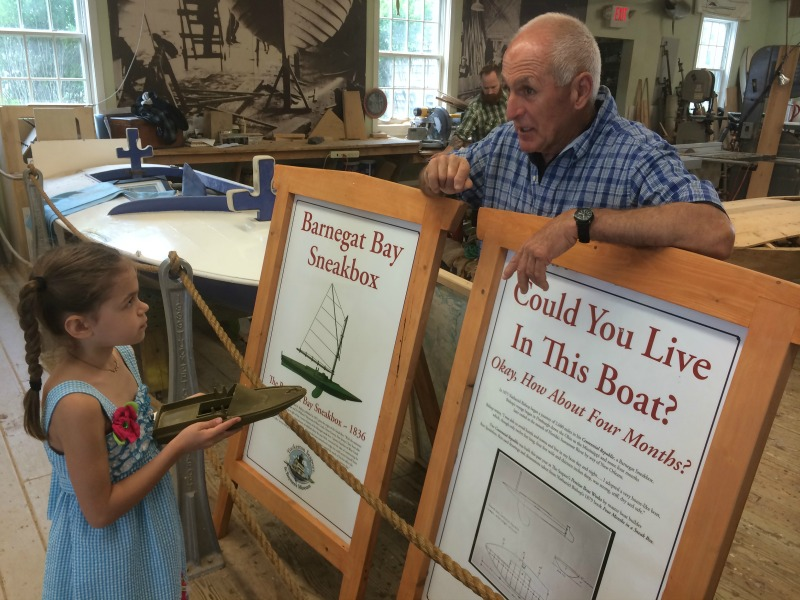 Learning about the Barnegat Bay Sneakbox at Tuckerton Seaport