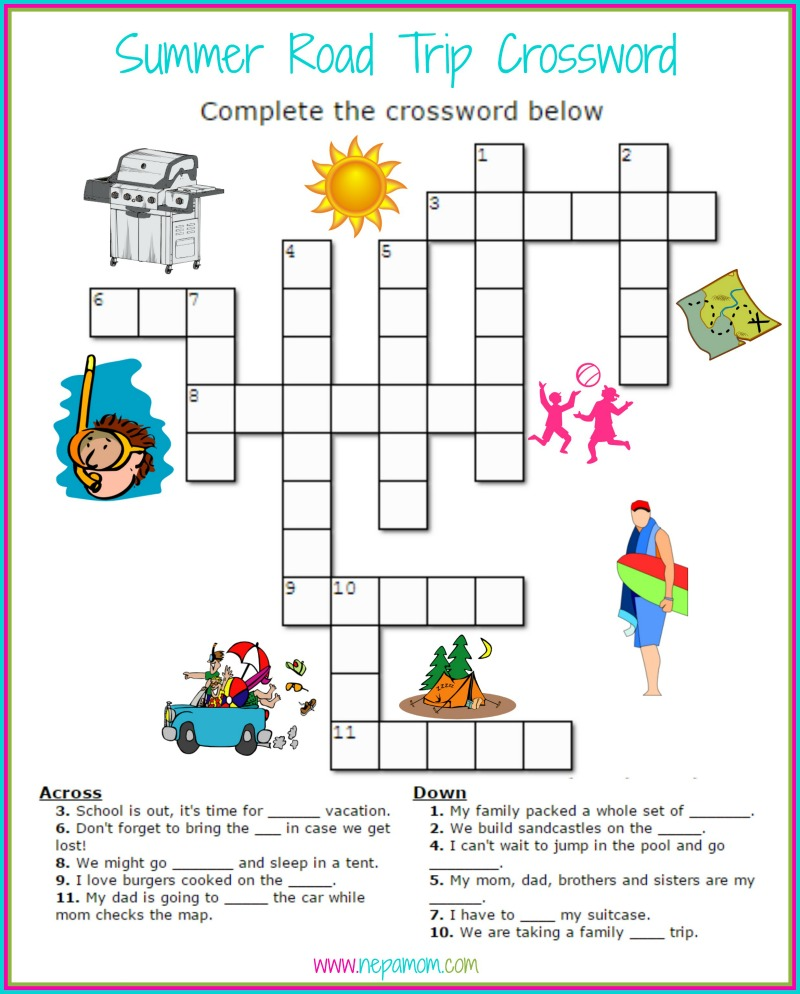 Printable Road Trip Games Summer Crossword