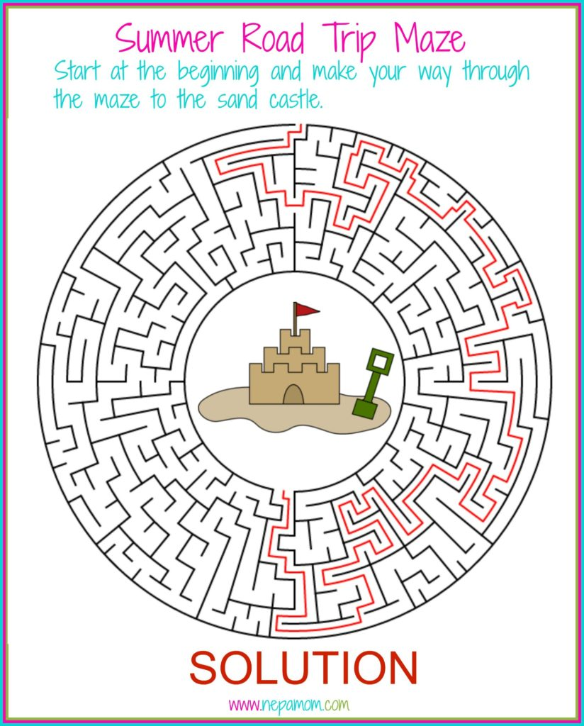 Summer Road Trip Maze Solution MWG
