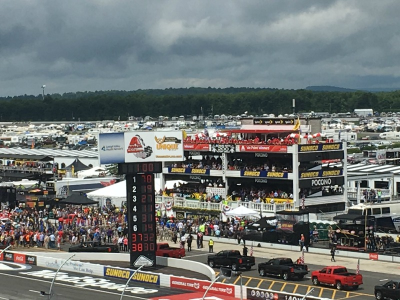 The crowds are ready for the race at #PoconoRaceway #NASCAR #ad
