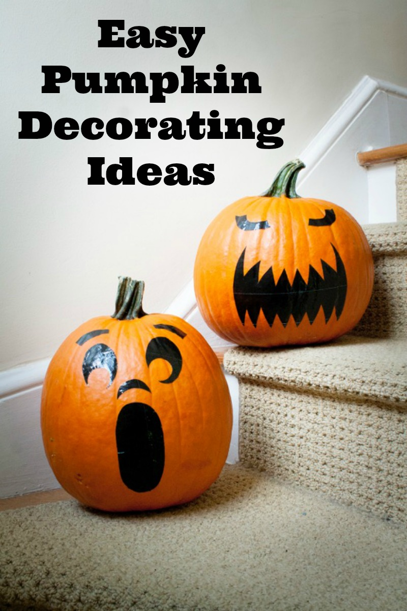 Easy Pumpkin Decorating Ideas--a perfect Halloween idea for your kids to help with the Halloween decorations and pumpkins.