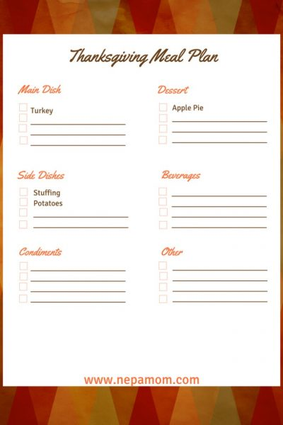 Thanksgiving Menu Template