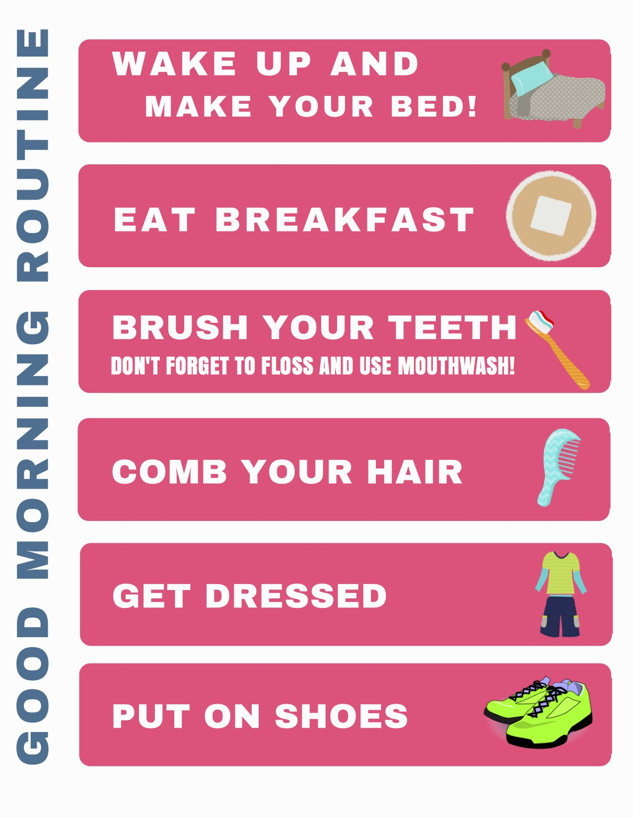 Printable Morning Routine Chart--help your preschooler gain some indpendance with this easy morning routine chart.