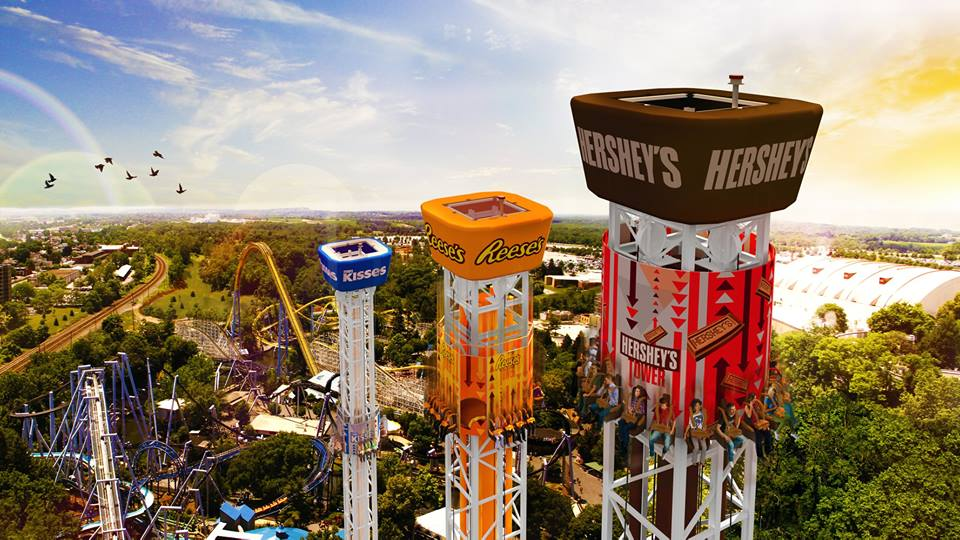 Hershey Triple Tower--check out this all new ride at Hersheypark and chose your own thrill!