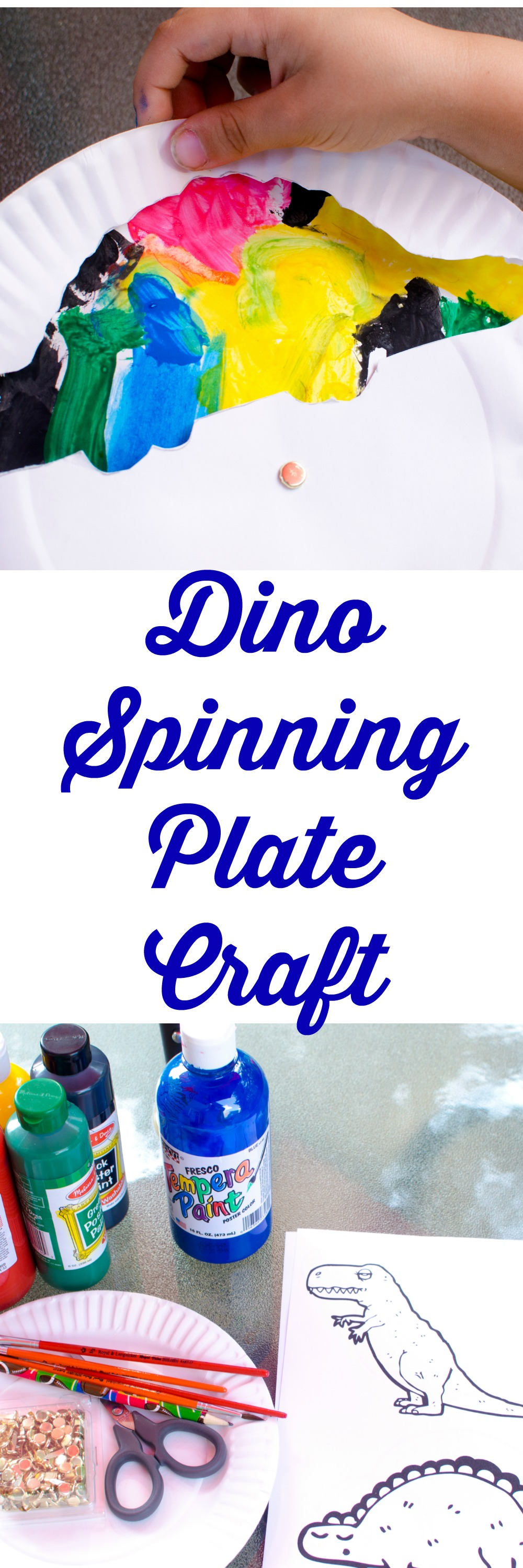 DINO Spinning Plate Craft--perfect for your DINO Loving Kids!