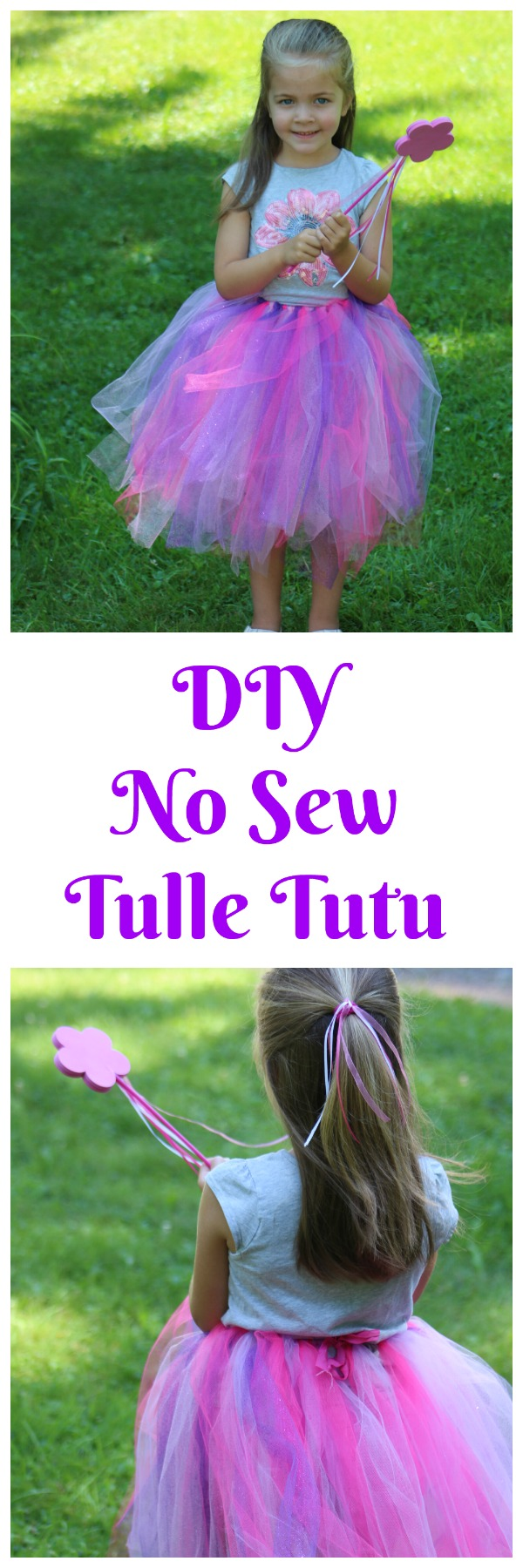 DIY No Sew Tulle Tutu--this princess inspired tulle tutu is easy to make, with no special tools and takes only minutes to make! It's so easy my kids helped me do it! Perfect for your little princess!