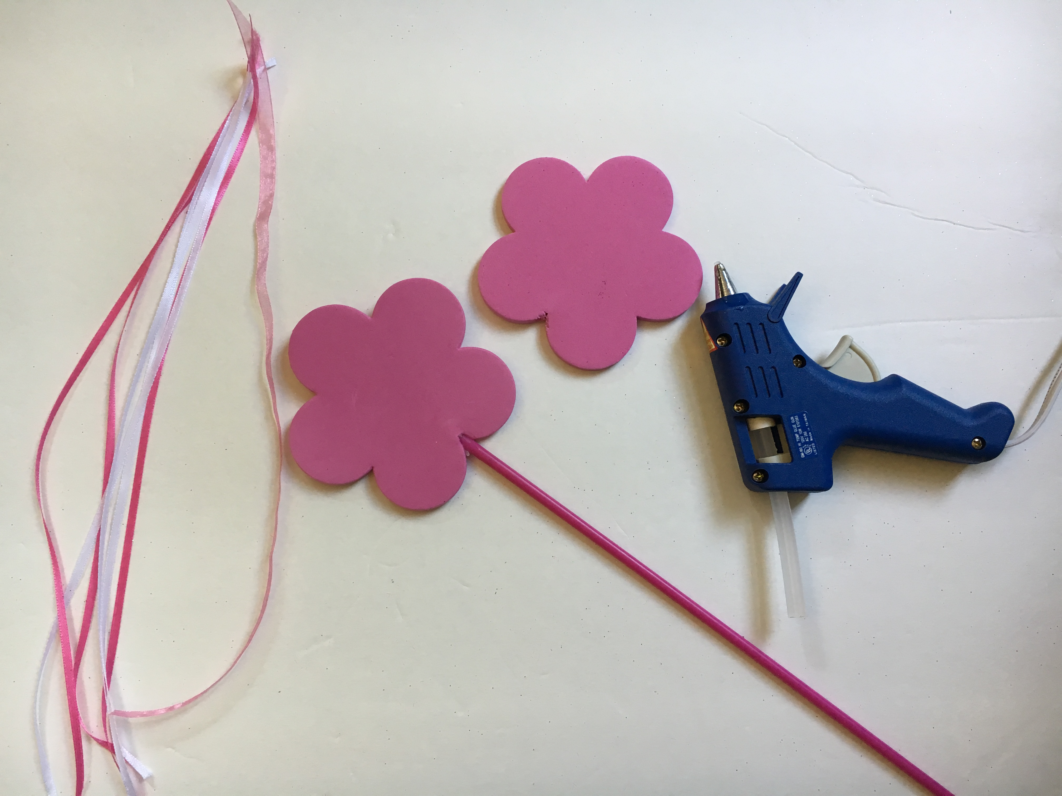 Use ribbon and foam wands to made an easy DIY Wand to match the DIY No Sew Tulle Tutu.