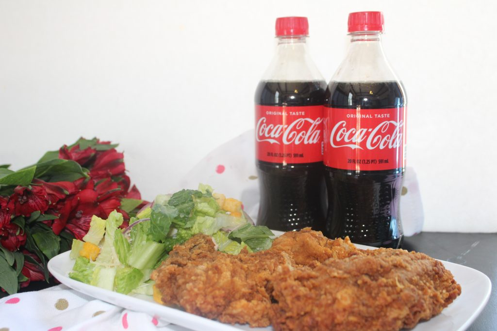 Date Night at Home? Make it easy and tasty with Coca-Cola™ . I love heading to my local ShopRite'Grand and Go' open air coolers in the food service area and grabbing their8-Piece Fried Chicken, a ready madeBistro Bowl salad and of course, two Coca-Cola™ sodas--yum! #ServeWithACoke #ShopRite #ad
