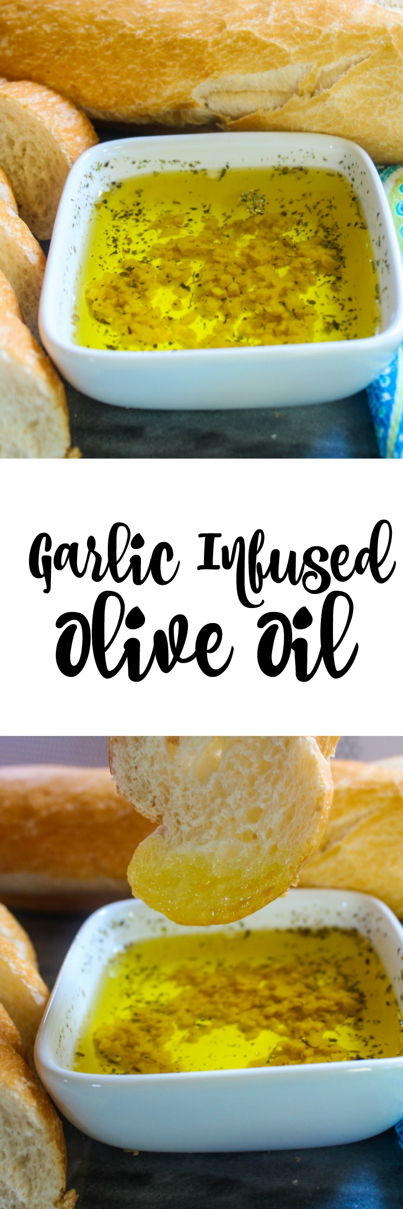 Garlic Infused Olive Oil is so easy to make and it tastes great! It is the perfect dipping sauce for crusty bread or serve it with your favorite pasta!