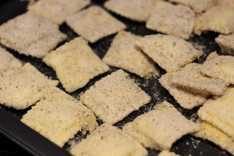 Fried Ravioli Appetizer--dredge the frozen ravioli in egg and a mixture of breadcrumbs and parmesan cheese