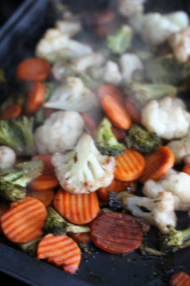 steaming pan of Balsamic Roasted Vegetables