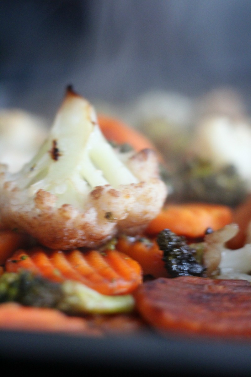 Roasted Brocoli, cauliflower and carrots on a sheet pan