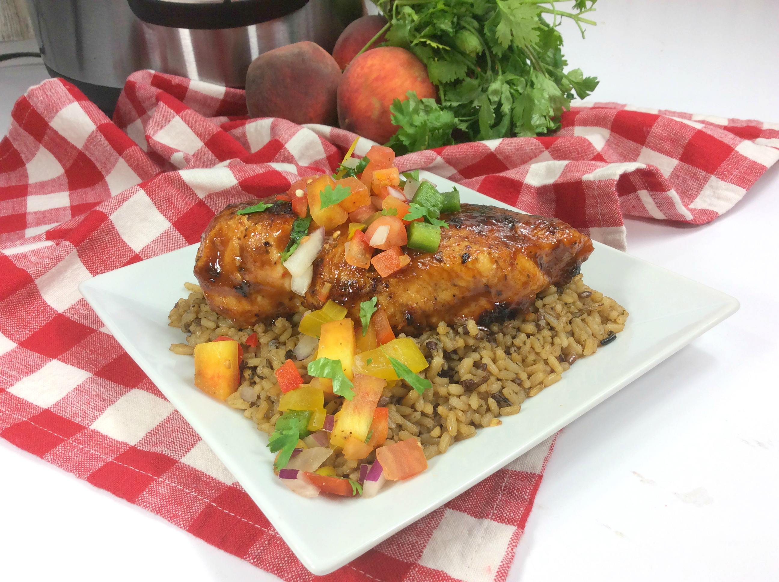 Instant Pot Chicken Breast with Peach BBQ Sauce and Salsa